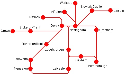 map of the east midlands day ranger ticket
